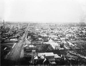 1887 - From the Collingwood Town Hall you can see in the distance the Victoria Park oval.